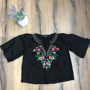 Topshop Black Embroidered Floral Poplin Top Sz 6